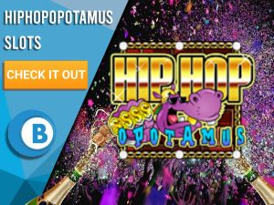 """Background of nightclub with logo for Hiphopopotamus. Blue/white square to left with text """"Hiphopopotamus Slots"""", CTA below it and BoomtownBingo logo under that."""