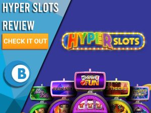 """Purple background with slot machines and Hyper Slots logo. Blue/white square to left with text """"Hyper Slots Review"""", CTA below and Boomtown Bingo logo."""