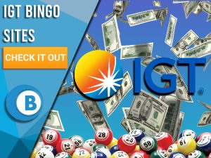 """Light blue background with money falling, bingo balls at the bottom and IGT logo in centre. Left is blue/white square with text """"IGT Bingo Sites"""", CTA below it and BoomtownBingo logo under that."""
