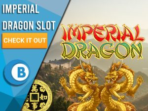 """Background of China with two Golden Dragons and Imperial Dragon Logo. Blue/white square with text on it """"Imperial Dragon Slot"""", CTA below it and BoomtownBingo logo under that."""