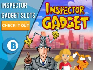 "Background of New York with Inspector Gadget, Penny and Brain infront of Inspector Gadget logo. Blue/white square to left with text ""Inspector Gadget Slots"", CTA below it and BoomtownBingo logo under it."