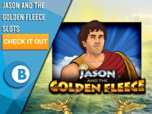 """Background of Ocean with two golden angels playing the trumpet with logo of Jason and the Golden Fleece in centre. Blue/white square to left with text """"Jason and the Golden Fleece Slots"""", CTA below it and BoomtownBingo logo under"""