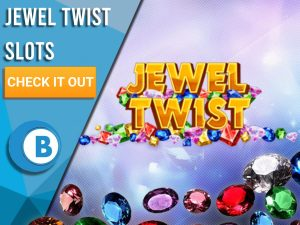 """Background purple with gems at bottom and Jewel Twist logo. Blue/white square with text to left """"Jewel Twist Slots"""", CTA below that and BoomtownBingo logo under that."""