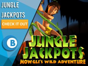 "Background of Jungle with boy on vine and Jungle Jackpot logo. Blue/white square with text to left ""Jungle Jackpots"", CTA below and BoomtownBingo logo under that."