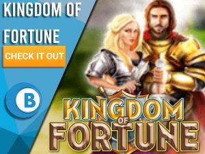 """Background of castle with man and woman behind Kingdom of Fortune logo. Blue/white square with text to left """"Kingdom of Fortune"""", CTA below that and BoomtownBingo logo under that."""