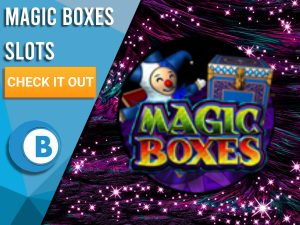"Background of purple, purple sparkles and Magic Boxes logo. Blue/white square to left with text ""Magic Boxes Slots"", CTA below that and BoomtownBingo logo under that."