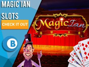 """Background of stage with Magic Ian, Cards and Magic Ian logo. Blue/white square to left with text """"Magic Ian Slots"""", CTA underneath and BoomtownBingo logo."""