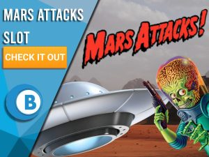 """Background of Mars with UFO, Alien and Mars Attacks logo. Blue/white square with text """"Mars Attacks Slot"""", CTA below it and BoomtownBingo logo under that."""