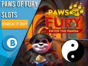 """A background of temple with panda, yin yang sign and Paws of Fury logo. Blue/white square to left with text """"Romeo & Juliet Slot"""", CTA below that and BoomtownBingo logo under that."""