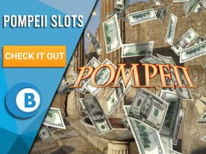 """Background of Italian old city, with money raining and Pompeii logo showing up. Blue/white box with text """"Pompeii Slots"""", CTA below and BoomtownBingo logo under that."""