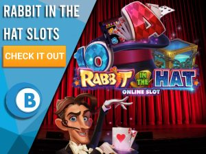 "Background is stage with magician and Rabbit in the Hat Online Slots Logo. Blue/white square to left with text ""Rabbit in the Hat Slots"", CTA beneath that and BoomtownBingo logo under that."