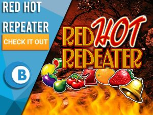 """Background of hell with fire, chain of slot symbols and Red Hot Repeater logo. Blue/white square to left with text """"Red Hot Repeater"""", CTA below that and BoomtownBingo logo beneath that."""