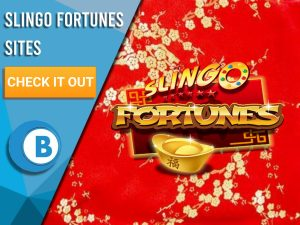"Background of Red Chinese wall with Gold Decals. Blue/white square covers half background. Slingo Fortunes is seen in centre. Text to left ""Slingo Fortunes Sites"", beneath it a CTA, below that is BoomtownBingo Logo."