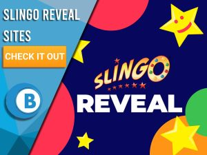"""Background of Dark Blue. Slingo Reveal logo can be seen in the centre, different coloured circles can be seen, with stars and a face! Blue/white square taking up half of the screen with text """"Slingo Reveal Sites"""", CTA beneath and the BoomtownBingo logo."""