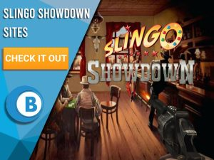 "Background of Saloon. White/blue square taking up half the image. Slingo Showdown logo is seen clearly, with text to the left saying ""Slingo Showdown Sites"", CTA below and BoomtownBingo beneath that."