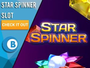 """Purple background with slot symbols and Star Spinner logo. Blue/white square to left with text """"Star Spinner Slot"""", CTA below and BoomtownBingo logo under that."""