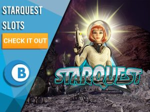 """Background of sci-fi planet with Starquest logo in centre. Blue/white square on left with text """"Starquest Slots"""", CTA below that and BoomtownBingo logo under that."""