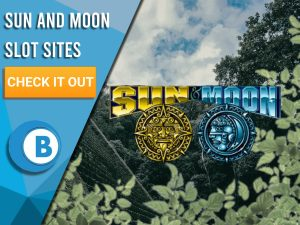 "Background of Aztec temple with leaves on the border with the Sun and Moon logo. Blue/white square with text ""Sun and Moon Slot Sites"", a CTA and BoomtownBingo logo."