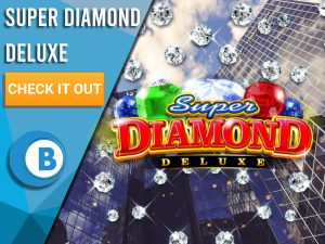 "Background of Rich city with raining diamonds and Super Diamond Deluxe logo. Blue/white square to left with text ""Super Diamond Deluxe"", CTA below that and BoomtownBingo logo underneath that."