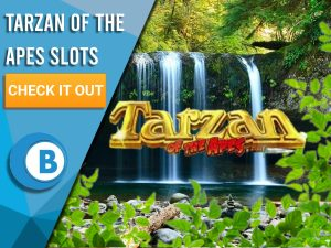 "Background of Jungle with Tarzan of Apes logo in centre. To left, blue/white square is seen with text ""Tarzan of the Apes Slots"", A CTA beneath that and BoomtownBingo Logo."
