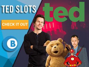 """Background of Nightclub with Ted Characters and Ted logo. Blue/white square to left with text """"Ted Slots"""", CTA below that and BoomtownBingo Logo."""