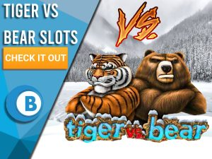 """Background is snowing with logo for Tiger VS Bear and Vs symbol above it. Blue/white square with text """"Tiger vs Bear Slots"""", CTA below it and BoomtownBingo logo under that."""