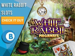 "Background of Alice in Wonderland with a Pocket watch, Mad Hatter's hat and the Queen of Hearts on a Card with the logo for White Rabbit Megaways appearing. Left is a blue/white square with text ""White Rabbit Slots"", CTA below it and BoomtownBingo Logo under."