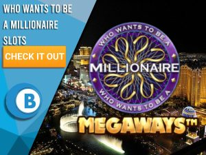 """Background of Las Vegas with Who Wants to Be a Millionaire Slots logo. Blue/white square with text """"Who Wants to Be a Millionaire Slots"""", CTA below and BoomtownBingo logo beneath that."""