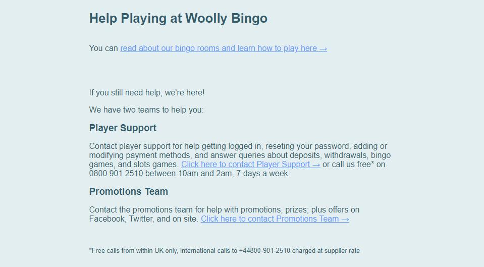 Woolly Bingo Support