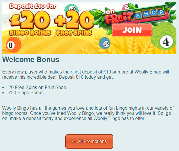 Woolly Bingo Sign Up Offer