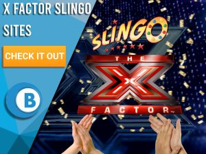 "Background of X-factor with gold confetti falling from the top. 2 hands are seen clapping at the bottom with a blue/white square to the left. On this square, text saying ""X Factor Slingo Sites"" is seen, beneath that is a CTA, beneath that is a logo."
