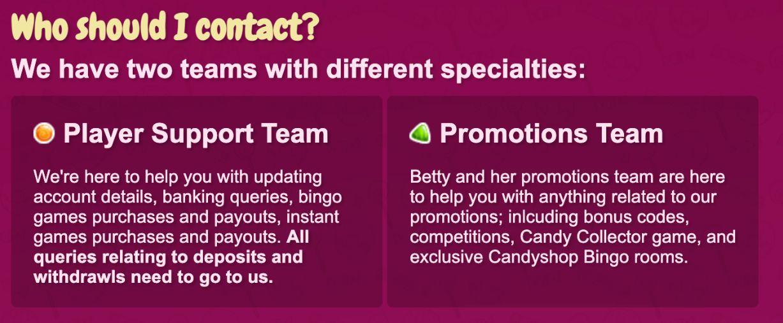 candy shop bingo support team