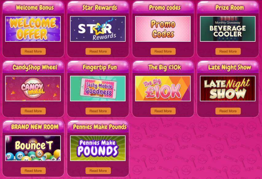 candy shop bingo website promotions