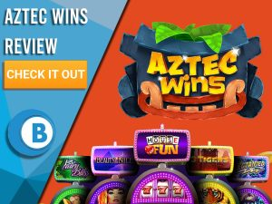 """Orange background with slot machines and Aztec Wins logo. Blue/white square to left with text """"Aztec Wins Review"""", CTA below and Boomtown Bingo logo."""