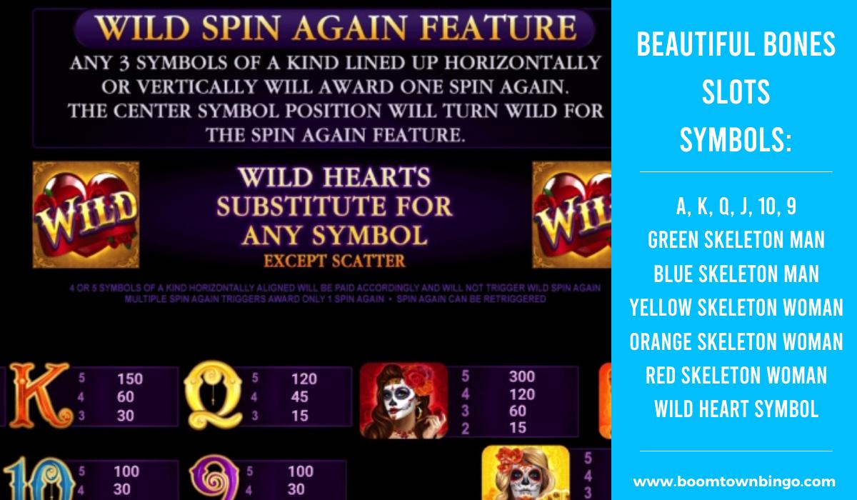 Beautiful Bones Slot machine Symbols