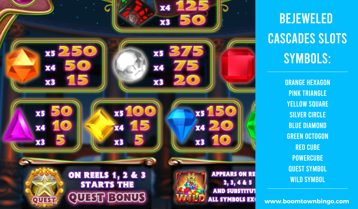 Bejeweled Cascades Slots machine Symbols