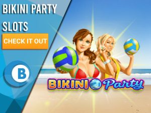 """Background of beach with the Bikini Party Logo. Blue/white square to the left with text """"Bikini Party Slots"""", CTA below it and BoomtownBingo underneath."""