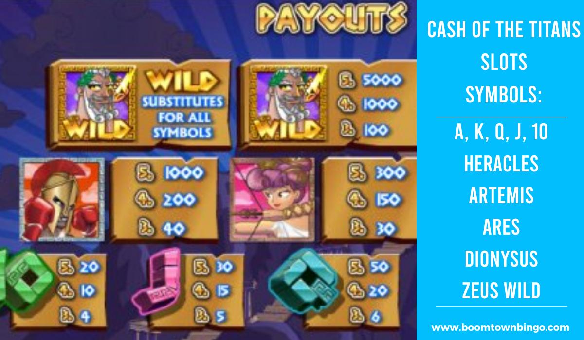 Cash of the Titans Slots machine Symbols