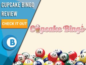 """Beige background with Cupcake Bingo logo. Blue/white square to left with text """"Cupcake Bingo Review"""", CTA below and Boomtown Bingo logo."""