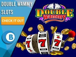 "Background is dark blue with coins, slot machine and Double Wammy logo. Blue/white square with text to left ""Double Wammy Slots"", CTA below it and BoomtownBingo logo under that."