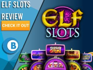 "Dark Blue/blue background with slot machines and Elf Slots logo. Blue/white square to left with text ""Elf Slots Review"", CTA below and Boomtown Bingo."