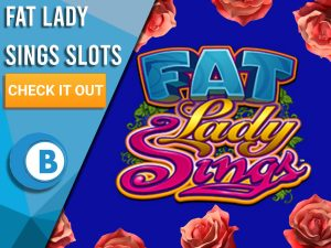 "Blue background with roses and Fat Lady Sings Logo. Blue/white square with text to left ""Fat Lady Sings Slots"", CTA below it and BoomtownBingo logo under that."