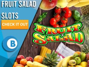 """Background of Kitchen table with Fruit border and Fruit Salad Logo. Blue/white square with text to left """"Fruit Salad Slots"""", CTA below that and BoomtownBingo logo under that."""