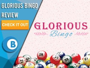 """Pink background with bingo balls and Glorious Bingo logo. Blue/white square to left with text """"Glorious Bingo Review"""", CTA below and Boomtown Bingo logo."""
