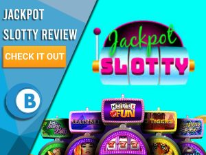 """Blue background with slot machines and Jackpot Slotty logo. Blue/white square to left with text """"Jackpot Slotty Review"""", CTA below and Boomtown Bingo logo."""