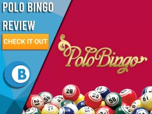 """Red background with bingo balls and Polo Bingo logo. Blue/white square to left with text """"Polo Bingo Review"""", CTA below and Boomtown Bingo logo."""