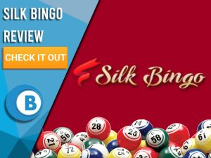 "Red background with bingo balls and Silk Bingo logo. Blue/white square to left with text ""Silk Bingo Review"", CTA below and Boomtown Bingo logo beneath that."