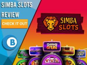 """Red/orange background with slot machines and Simba Slots logo. Blue/white square to left with text """"Simba Slots Review"""", CTA below and Boomtown Bingo logo."""