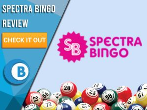 """Purple background with bingo balls and Spectra Logo. Blue/white square to left with text """"Spectra Bingo Review"""", CTA below it and Boomtown Bingo logo underneath that."""