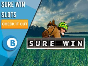 "Background of field with logo for Sure Win. Blue/white square to left with text ""Sure Win Slots"", CTA below it and BoomtownBingo logo under that."